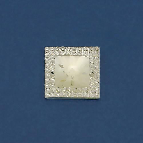 Страз пластик квадрат ежик белый 3
