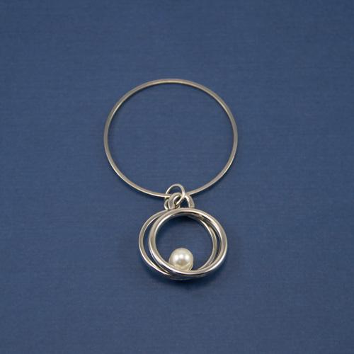 Украшение круги с жемчугом никель