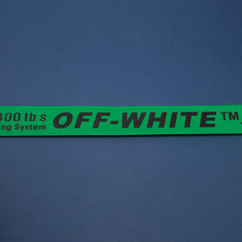 Тесьма репсовая зеленая с надписью OFF-WHITE