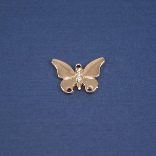 Бабочка пришивная золото стразы
