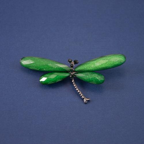 Брошь стрекоза зеленая