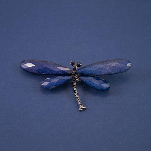 Брошь стрекоза синяя